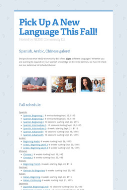 Pick Up A New Language This Fall!