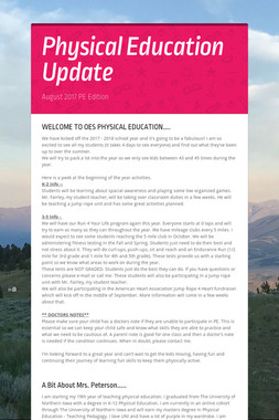 Physical Education Update