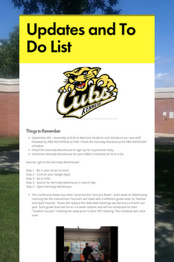Updates and To Do List