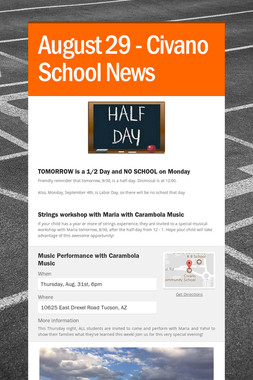 August 29 - Civano School News