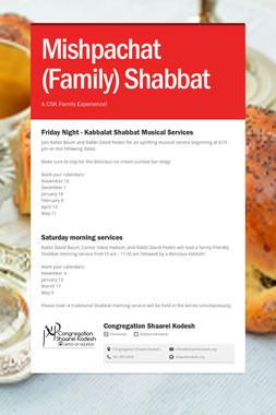 Mishpachat (Family) Shabbat