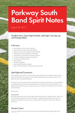 Parkway South Band Spirit Notes