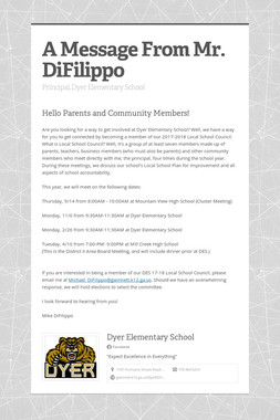 A Message From Mr. DiFilippo