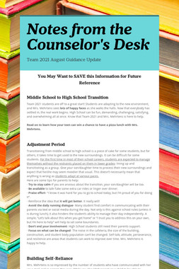 Notes from the Counselor's Desk