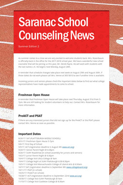 Saranac School Counseling News