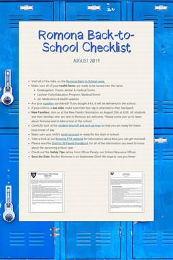 Romona Back-to-School Checklist