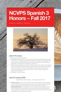 NCVPS Spanish 3 Honors ~ Fall 2017