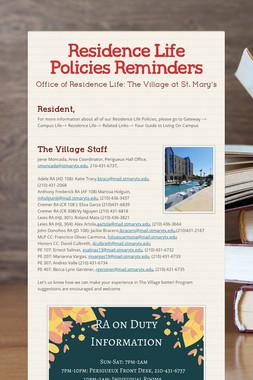 Residence Life Policies Reminders