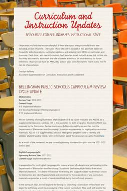 Curriculum and Instruction Updates