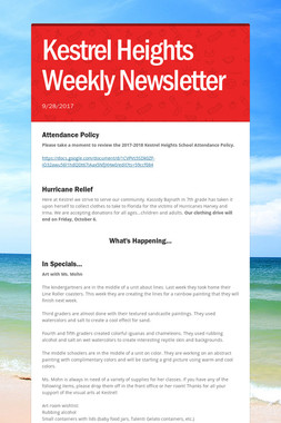 Kestrel Heights Weekly Newsletter