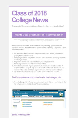 Class of 2018 College News