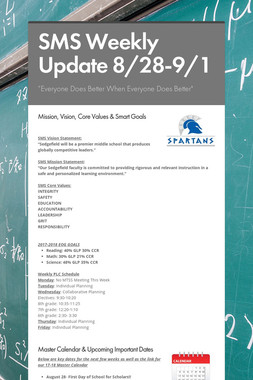 SMS Weekly Update 8/28-9/1