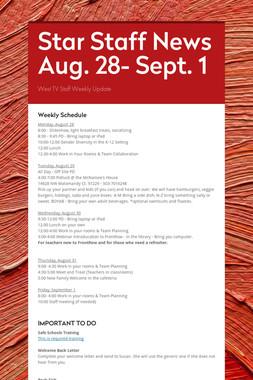 Star Staff News Aug. 28- Sept. 1