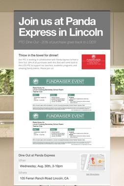 Join us at Panda Express in Lincoln