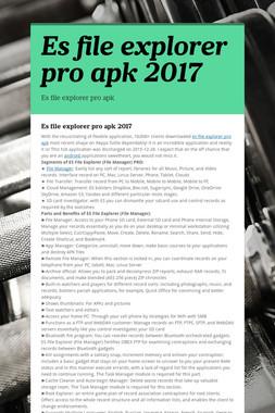 Es file explorer pro apk 2017
