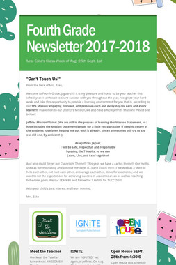 Fourth Grade Newsletter 2017-2018