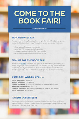 Come to the Book Fair!