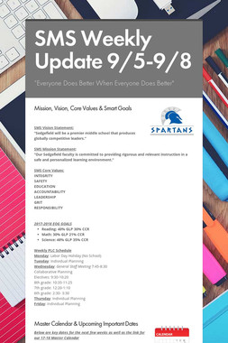 SMS Weekly Update 9/5-9/8