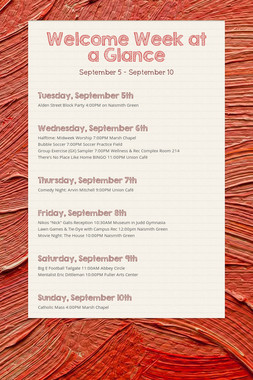 Welcome Week at a Glance