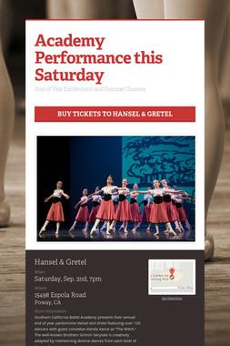 Academy Performance this Saturday