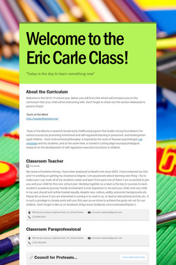 Welcome to the Eric Carle Class!