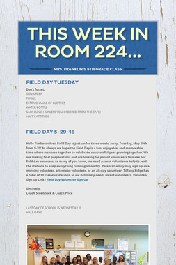 This Week in Room 224...