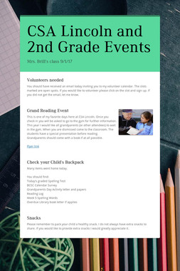 CSA Lincoln and 2nd Grade Events