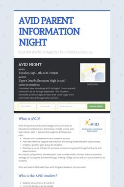 AVID PARENT INFORMATION NIGHT