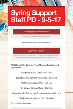 Syring Support Staff PD - 9-5-17