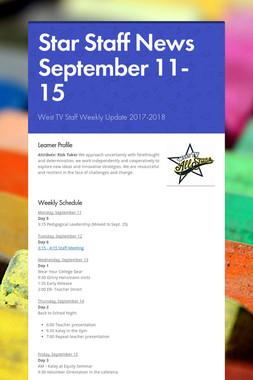 Star Staff News   September 11-15