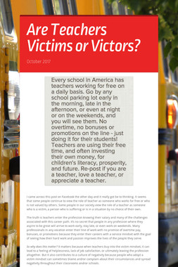 Are Teachers Victims or Victors?