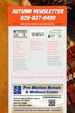 Autumn Newsletter 828-837-0400