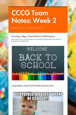 CCCG Team Notes: Week 2