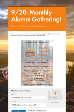 9/20: Monthly Alumni Gathering!