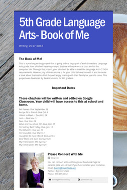 5th Grade Language Arts- Book of Me