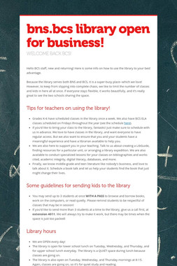 bns.bcs library open for business!
