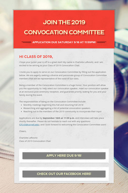 Join the 2019 Convocation Committee