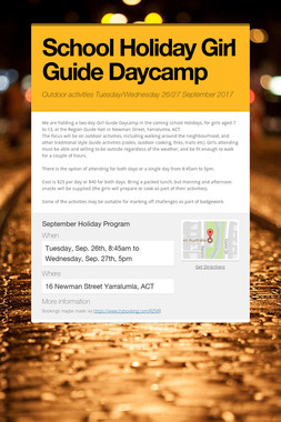 School Holiday Girl Guide Daycamp