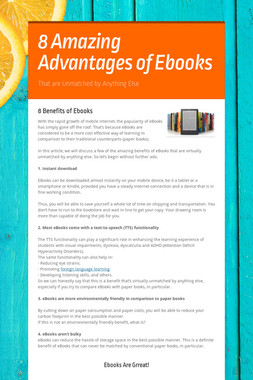 8 Amazing Advantages of Ebooks