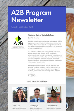A2B Program Newsletter
