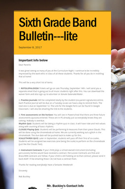 Sixth Grade Band Bulletin---lite