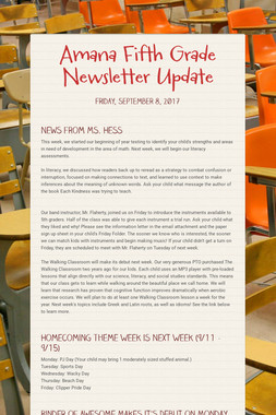 Amana Fifth Grade Newsletter Update