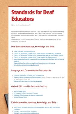 Standards for Deaf Educators
