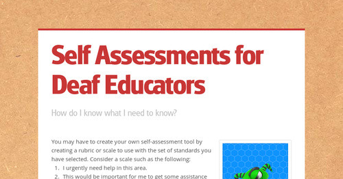 Self Assessments for Deaf Educators | Smore Newsletters