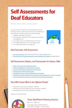 Self Assessments for Deaf Educators