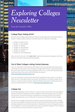 Exploring Colleges Newsletter