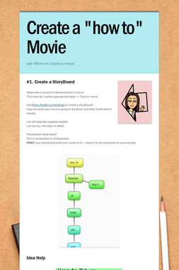"""Create a """"how to"""" Movie"""
