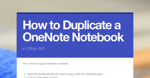 How to Duplicate a OneNote Notebook | Smore Newsletters
