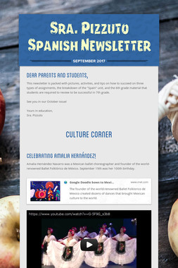 Sra. Pizzuto Spanish Newsletter