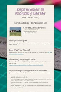 September 18 Monday Letter